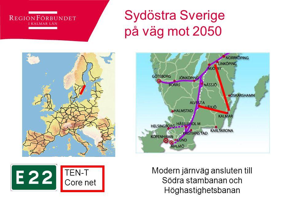 OECD om sydöstra Sverige Ligger nära europeiska marknader Infrastrukturen begränsar dock tillgänglighet till stora europeiska marknader Efterkrigstidens transportpolitik har gynnat ett västligt transportnät och missgynnar de mer östliga