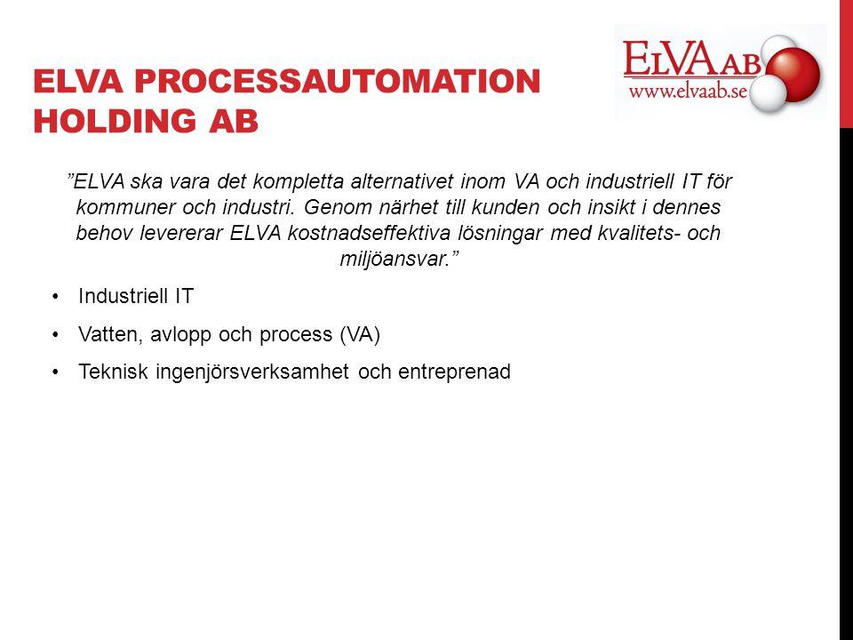 ELVA PROCESSAUTOMATION HOLDING AB ELVA ska vara det kompletta alternativet inom VA och industriell IT för kommuner och industri.