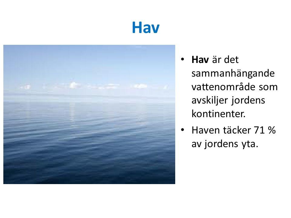 Hav Hav är det sammanhängande vattenområde som avskiljer jordens kontinenter. Haven täcker 71 % av jordens yta.