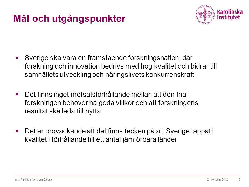 24 oktober 2012nils-fredrik.ankarcrona@ki.se2 Mål och utgångspunkter  Sverige ska vara en framstående forskningsnation, där forskning och innovation bedrivs med hög kvalitet och bidrar till samhällets utveckling och näringslivets konkurrenskraft  Det finns inget motsatsförhållande mellan att den fria forskningen behöver ha goda villkor och att forskningens resultat ska leda till nytta  Det är oroväckande att det finns tecken på att Sverige tappat i kvalitet i förhållande till ett antal jämförbara länder