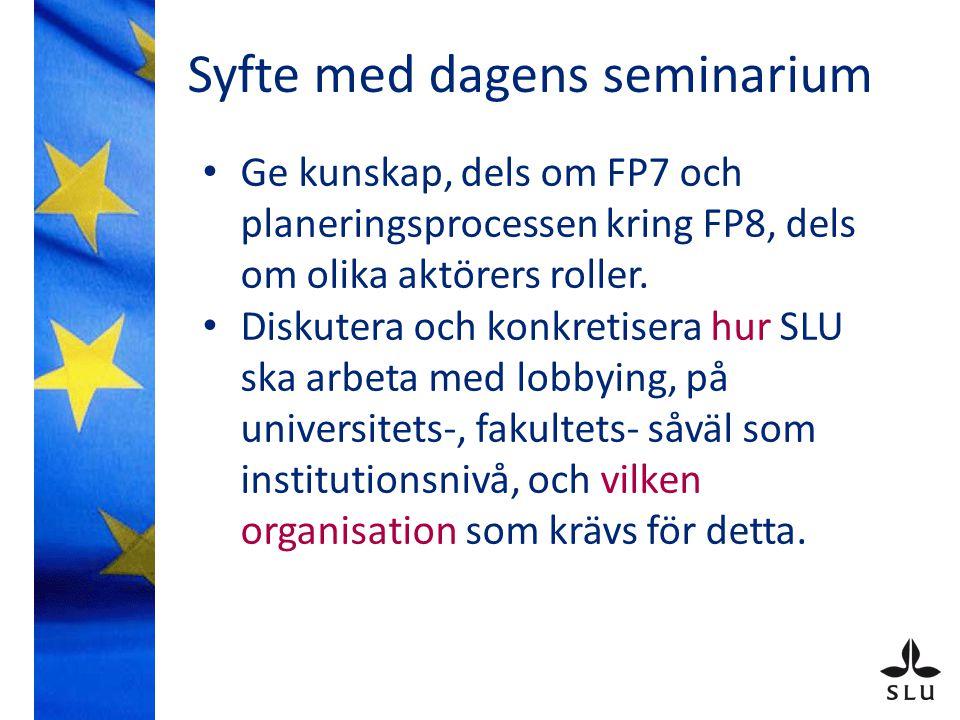 Syfte med dagens seminarium Ge kunskap, dels om FP7 och planeringsprocessen kring FP8, dels om olika aktörers roller.