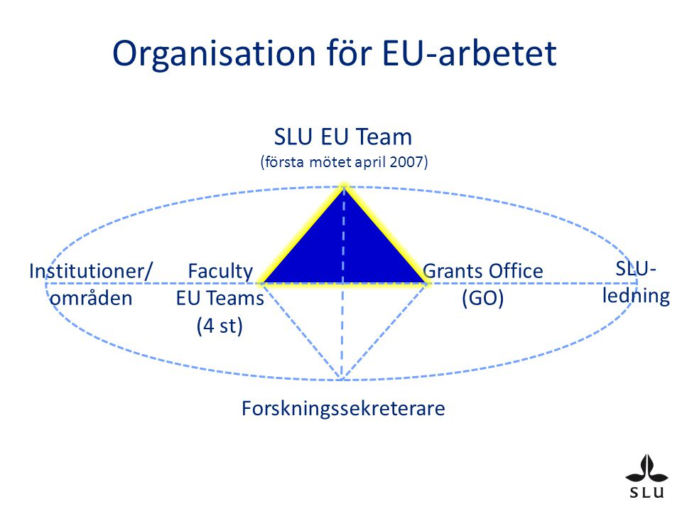 Organisation för EU-arbetet SLU EU Team (första mötet april 2007) Faculty EU Teams (4 st) Grants Office (GO) Institutioner/ områden SLU- ledning Forskningssekreterare