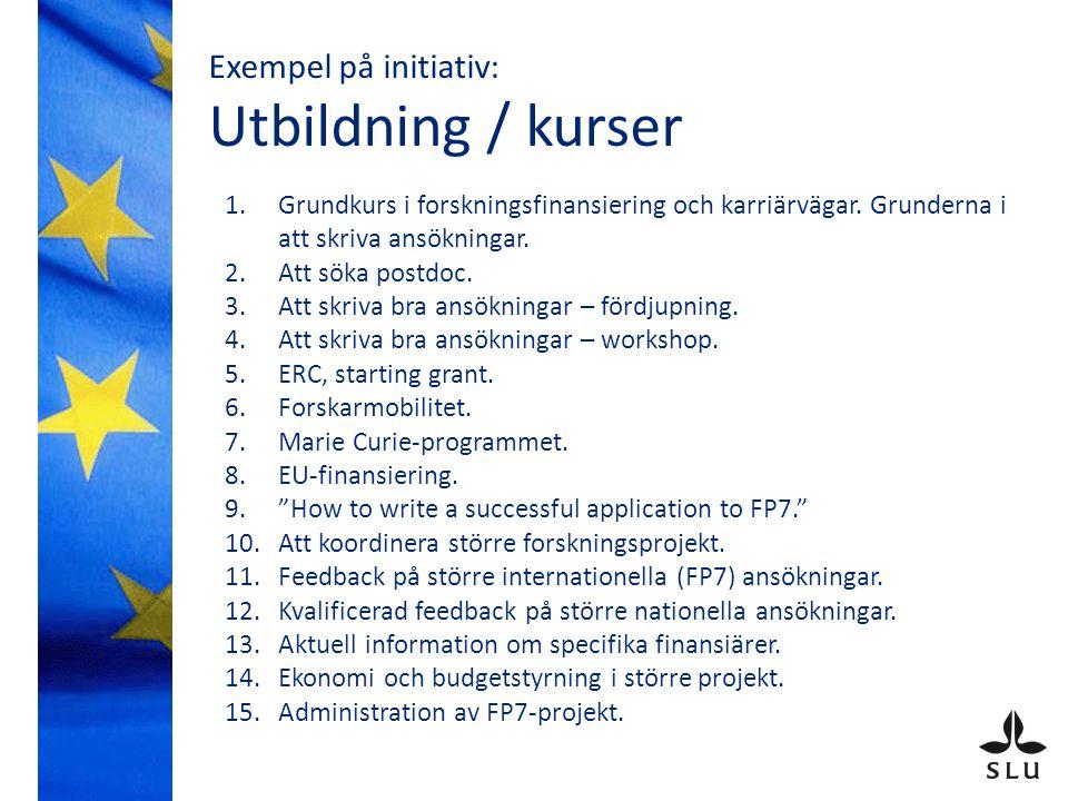 Exempel på initiativ: Utbildning / kurser 1.Grundkurs i forskningsfinansiering och karriärvägar.
