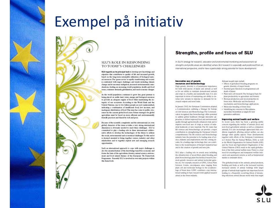 Exempel på initiativ: Seminarier Den gröna sektorn i Sverige och satsningarna på forskning och innovation inom EU – är lobbying ett skällsord eller en skyldighet? 28 okt 2008 Några slutsatser: För EU-kommissionen, -rådet och -parlamentet är lobbying en viktig del i kunskaps- och policyuppbyggnaden.