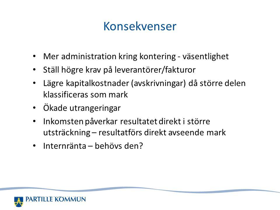 Konsekvenser Mer administration kring kontering - väsentlighet Ställ högre krav på leverantörer/fakturor Lägre kapitalkostnader (avskrivningar) då stö