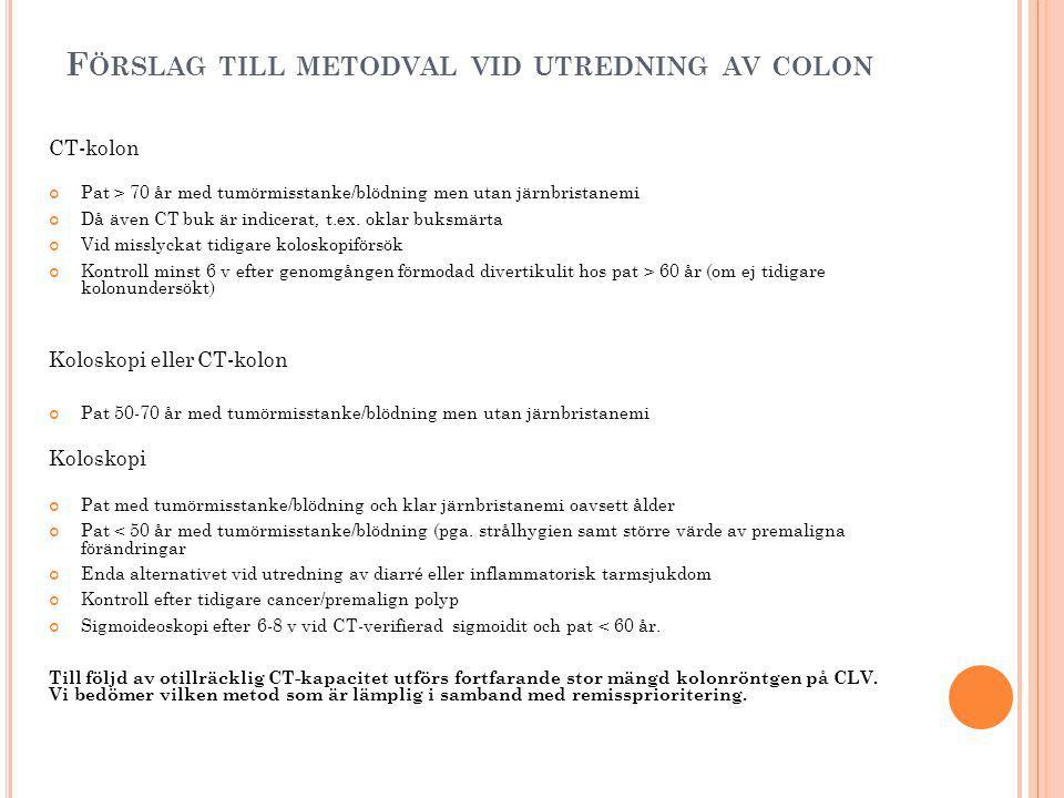 F ÖRSLAG TILL METODVAL VID UTREDNING AV COLON CT-kolon Pat > 70 år med tumörmisstanke/blödning men utan järnbristanemi Då även CT buk är indicerat, t.