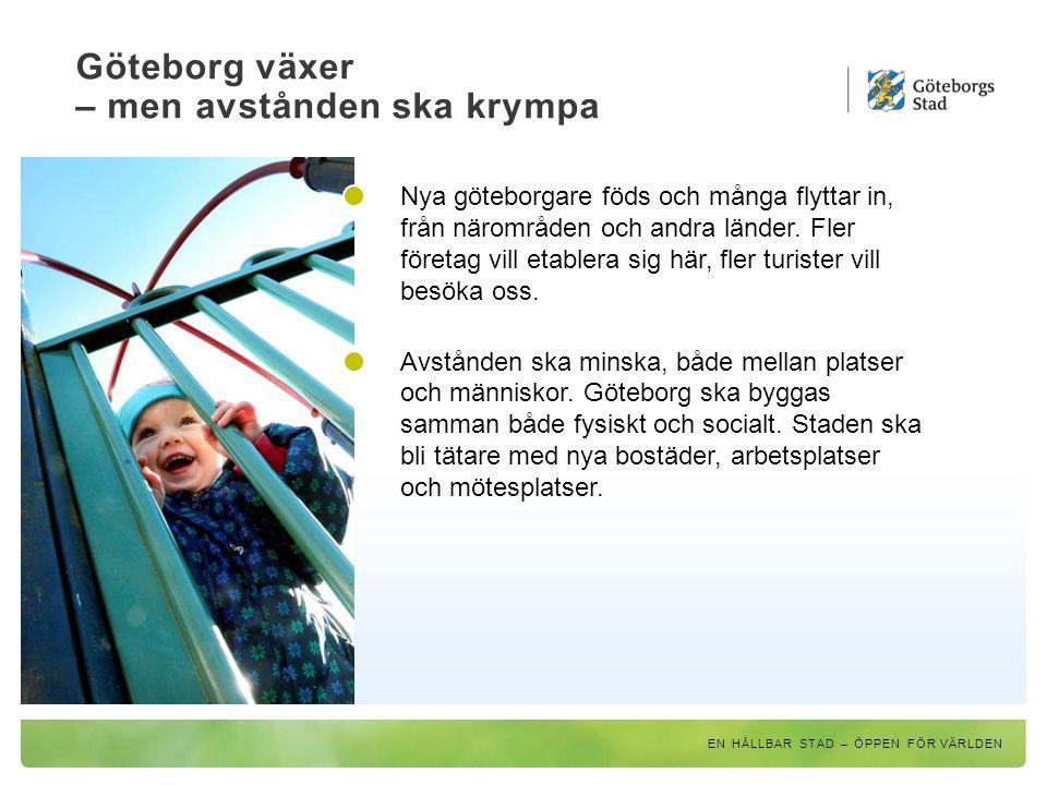 Göteborg växer – men avstånden ska krympa EN HÅLLBAR STAD – ÖPPEN FÖR VÄRLDEN Nya vägar, broar, cykelbanor och utbyggd kollektivtrafik ska göra det lättare att ta sig fram i staden, både för privatpersoner och näringsliv.