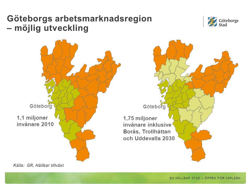 Göteborgs arbetsmarknadsregion – möjlig utveckling EN HÅLLBAR STAD – ÖPPEN FÖR VÄRLDEN Göteborg 1,1 miljoner invånare 2010 Göteborg 1,75 miljoner invå