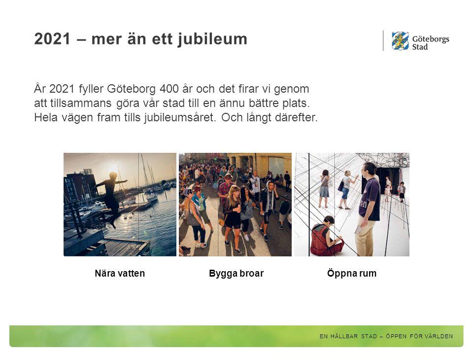 Vägen till 2021 2015 Av och med unga 2017 Grön och skön stad 2019 Kunskap och upplysning 2021 Göteborg 400 år.