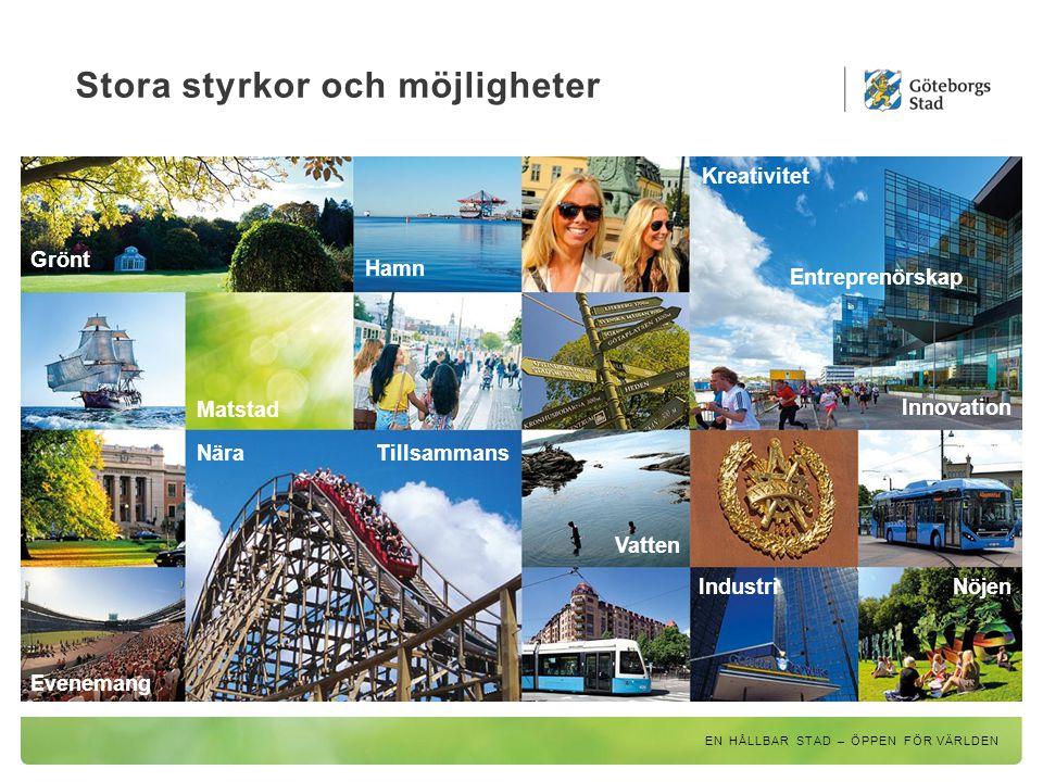 Från stor småstad – till grön och nära storstad EN HÅLLBAR STAD – ÖPPEN FÖR VÄRLDEN Staden växer Vision Älvstaden Trafikstrategi Grönstrategi Utbyggnadsplanering Utgår från Göteborgs Stads översiktsplan och visar tillsammans på en riktning för hur Göteborg ska utvecklas fram till 2035.
