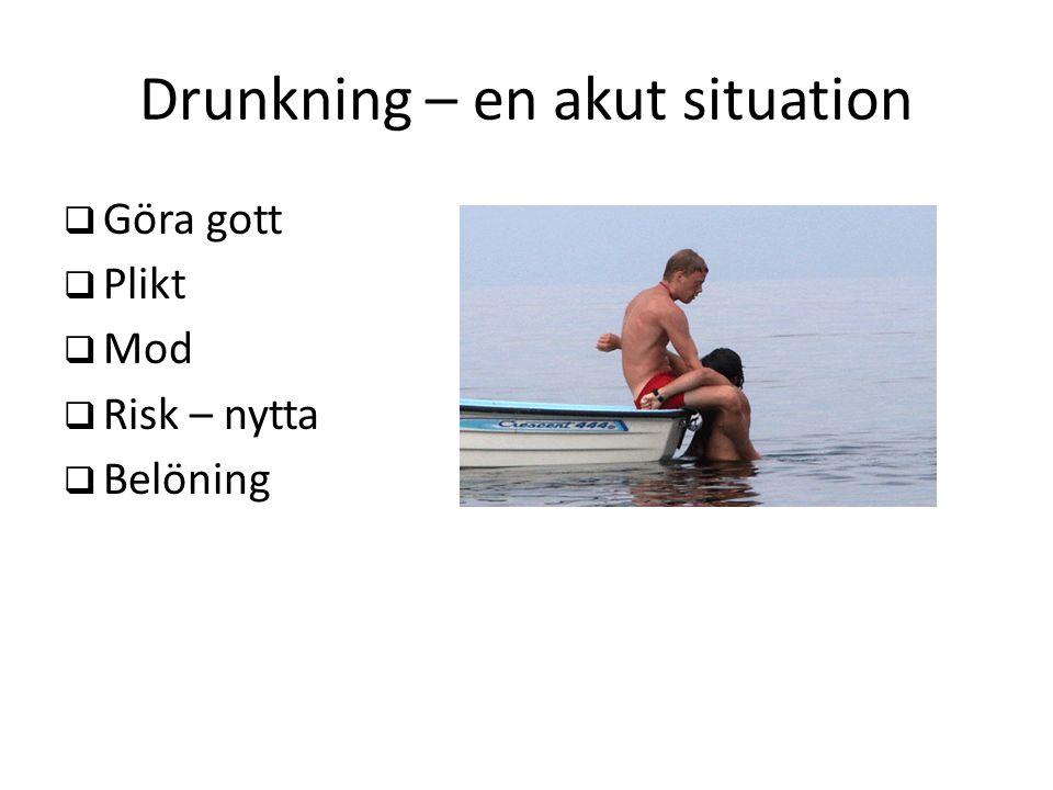 Drunkning – en akut situation  Göra gott  Plikt  Mod  Risk – nytta  Belöning
