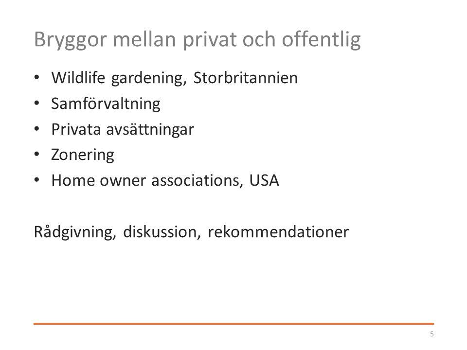 Bryggor mellan privat och offentlig Wildlife gardening, Storbritannien Samförvaltning Privata avsättningar Zonering Home owner associations, USA Rådgivning, diskussion, rekommendationer 5