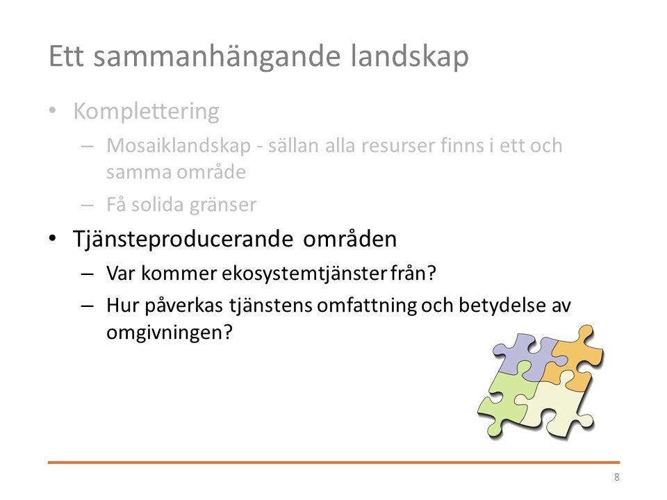 Ett sammanhängande landskap Komplettering – Mosaiklandskap - sällan alla resurser finns i ett och samma område – Få solida gränser Tjänsteproducerande områden – Var kommer ekosystemtjänster från.