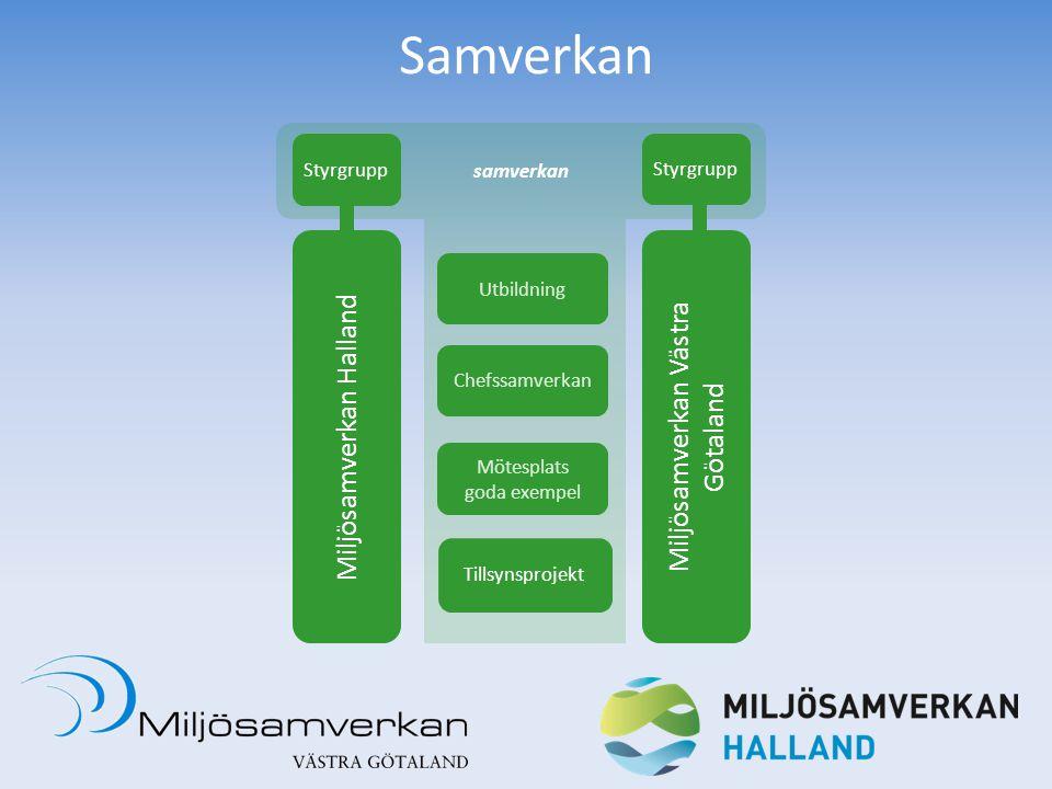 Samverkan samverkan Miljösamverkan Halland Miljösamverkan Västra Götaland Chefssamverkan Mötesplats goda exempel Styrgrupp Utbildning Tillsynsprojekt