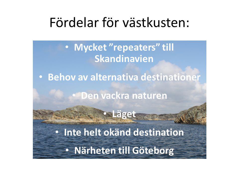 Fördelar för västkusten: Mycket repeaters till Skandinavien Behov av alternativa destinationer Den vackra naturen Läget Inte helt okänd destination Närheten till Göteborg