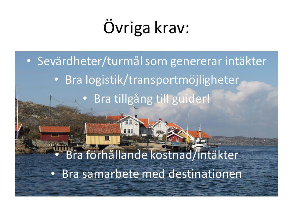 Övriga krav: Sevärdheter/turmål som genererar intäkter Bra logistik/transportmöjligheter Bra tillgång till guider! Bra förhållande kostnad/intäkter Br