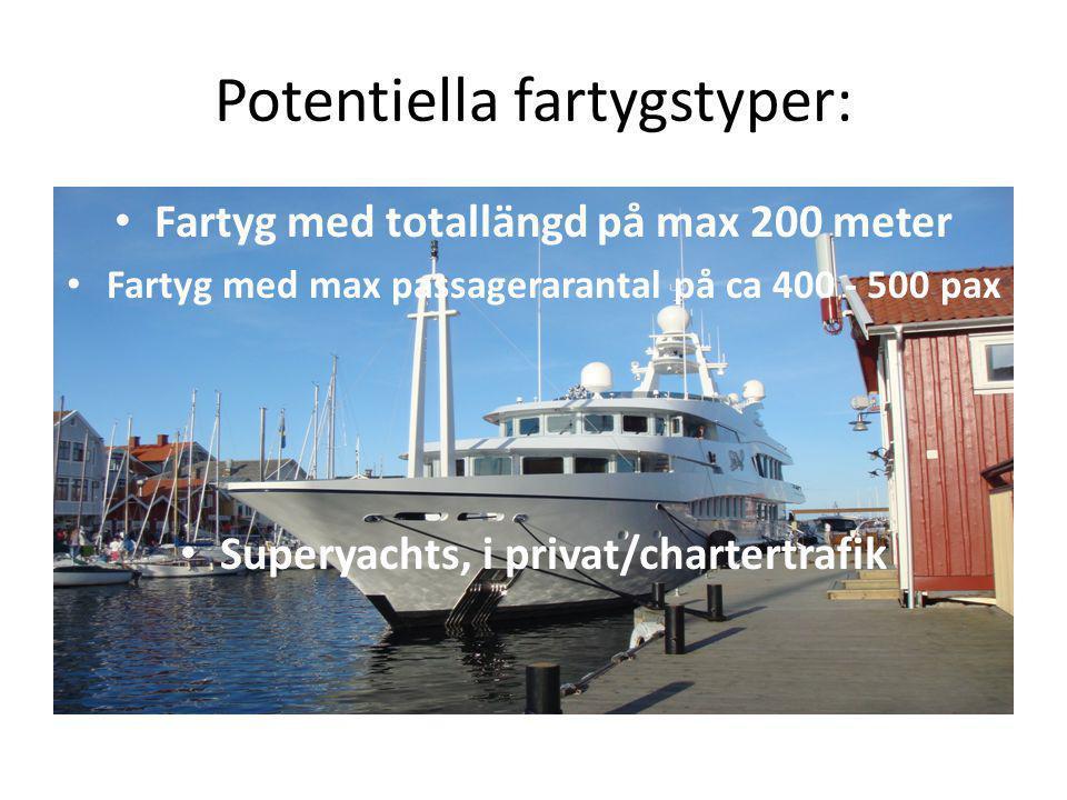 Potentiella fartygstyper: Fartyg med totallängd på max 200 meter Fartyg med max passagerarantal på ca 400 - 500 pax Superyachts, i privat/chartertrafi