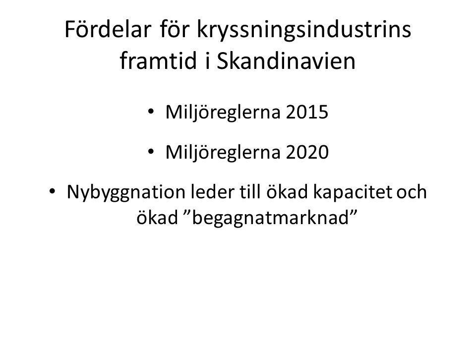 """Fördelar för kryssningsindustrins framtid i Skandinavien Miljöreglerna 2015 Miljöreglerna 2020 Nybyggnation leder till ökad kapacitet och ökad """"begagn"""