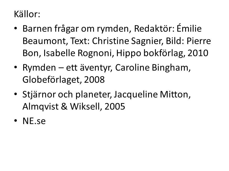 Källor: Barnen frågar om rymden, Redaktör: Émilie Beaumont, Text: Christine Sagnier, Bild: Pierre Bon, Isabelle Rognoni, Hippo bokförlag, 2010 Rymden
