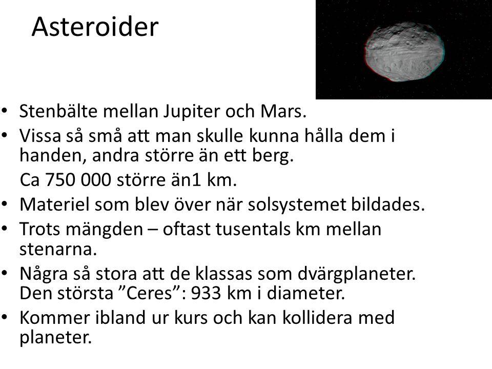 Asteroider Stenbälte mellan Jupiter och Mars. Vissa så små att man skulle kunna hålla dem i handen, andra större än ett berg. Ca 750 000 större än1 km