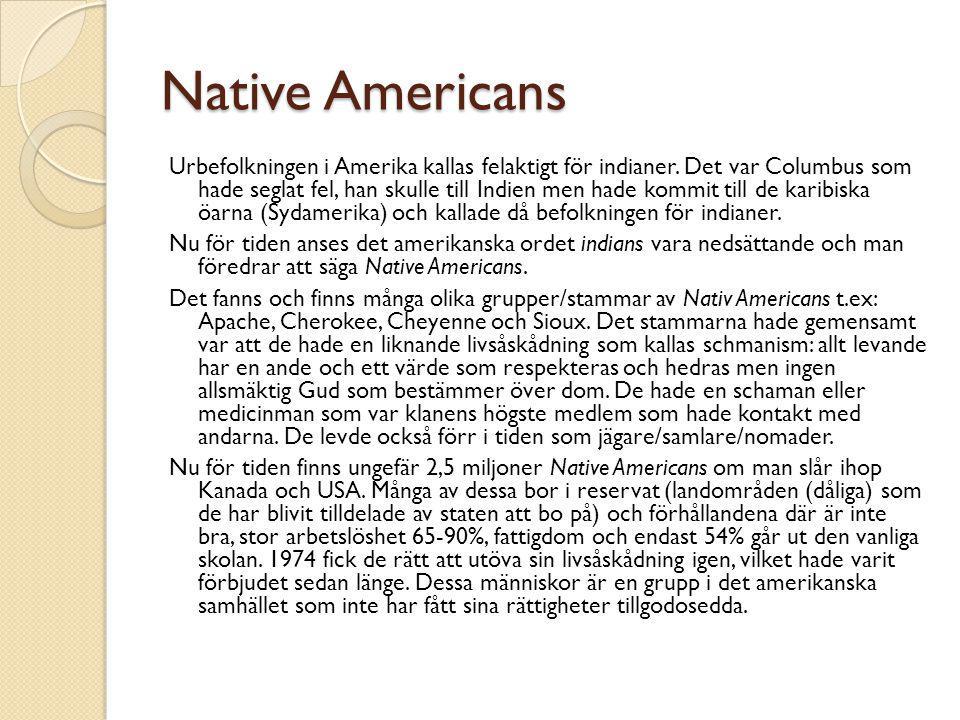 Native Americans Urbefolkningen i Amerika kallas felaktigt för indianer. Det var Columbus som hade seglat fel, han skulle till Indien men hade kommit