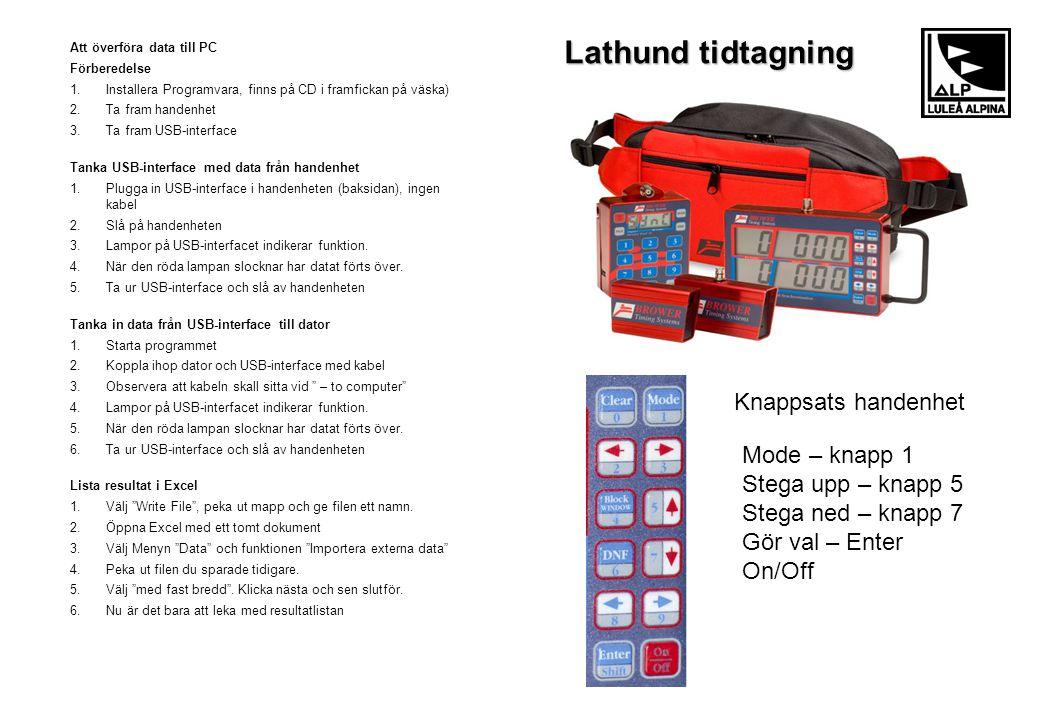 Att överföra data till PC Förberedelse 1.Installera Programvara, finns på CD i framfickan på väska) 2.Ta fram handenhet 3.Ta fram USB-interface Tanka
