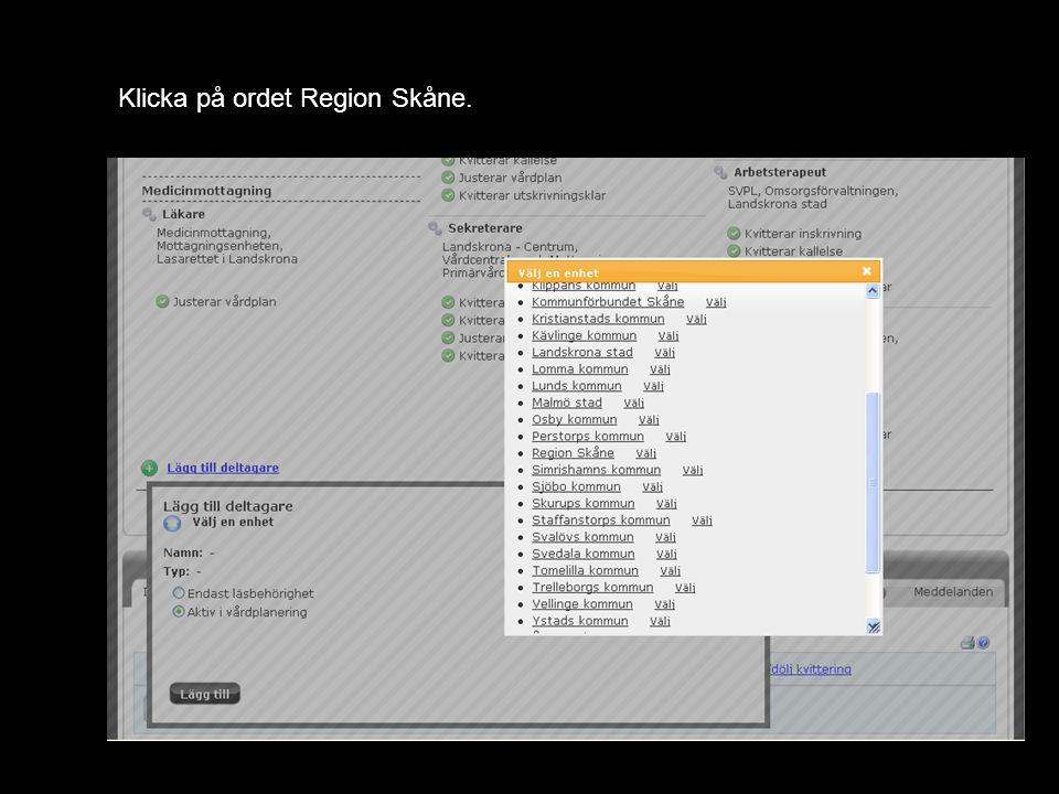 Klicka på ordet Region Skåne.