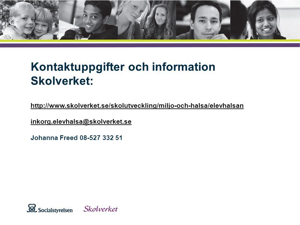 Att visa fotnot, datum, sidnummer Klicka på fliken Infoga och klicka på ikonen sidhuvud/sidfot Klistra in text: Klistra in texten, klicka på ikonen (Ctrl), välj Behåll endast text Kontaktuppgifter och information Skolverket: http://www.skolverket.se/skolutveckling/miljo-och-halsa/elevhalsan inkorg.elevhalsa@skolverket.se Johanna Freed 08-527 332 51 http://www.skolverket.se/skolutveckling/miljo-och-halsa/elevhalsan inkorg.elevhalsa@skolverket.se