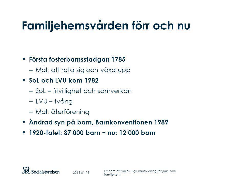 Att visa fotnot, datum, sidnummer Klicka på fliken Infoga och klicka på ikonen sidhuvud/sidfot Klistra in text: Klistra in texten, klicka på ikonen (Ctrl), välj Behåll endast text Punktlista nivå 1: Century Gothic, bold 19pt Nivå 2: Century Gothic normal 19pt Rubrik: Century Gothic, bold 33pt Reflektion 2015-01-13 Ett hem att växa i – grundutbildning för jour- och familjehem Finns det vanor, traditioner och rutiner i din familj som är mycket viktiga.