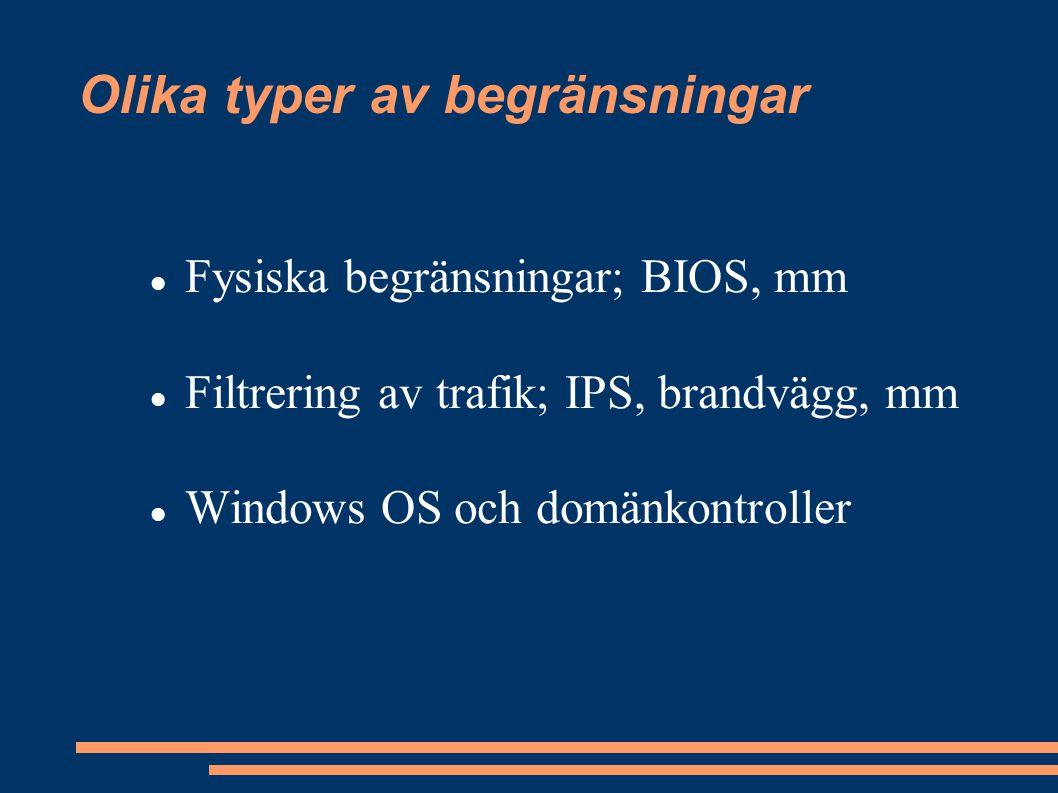 Olika typer av begränsningar Fysiska begränsningar; BIOS, mm Filtrering av trafik; IPS, brandvägg, mm Windows OS och domänkontroller