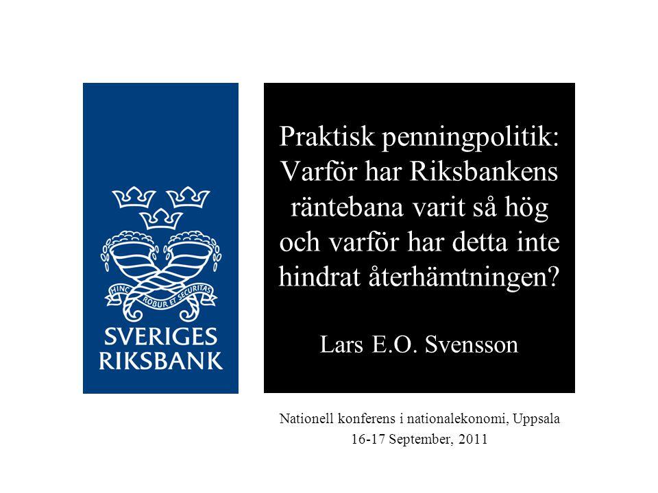 Disposition och slutsatser Liknande ramverk för PP i Sverige och USA Publicerade prognoser för FOMC och Riksbanken Liknande läge juni/juli 2010 för Fed och Riksbanken: Inflationsprognosen för låg, arbetslöshetsprognosen för hög Riksbankens stramare politik: Argumenten för kan förkastas Fed:s lättnader: Argumenten mot inte övertygande Riksbankens åtstramning fel; Fed:s lättnad rätt Juni/juli 2011: Sverige bättre/USA sämre än väntat Ex post: Bättre utfall i juni/juli 2011 om mer expansiv politik 2010