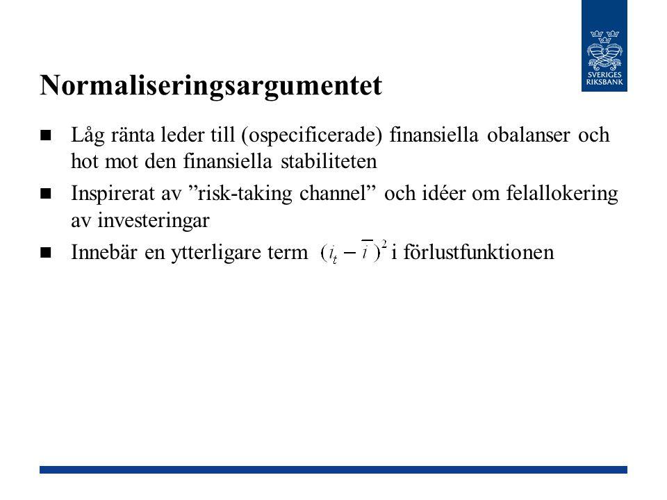 """Normaliseringsargumentet Låg ränta leder till (ospecificerade) finansiella obalanser och hot mot den finansiella stabiliteten Inspirerat av """"risk-taki"""
