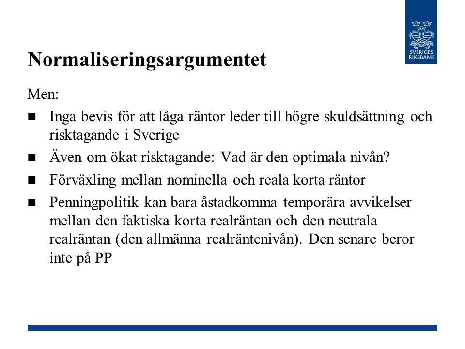 Men: Inga bevis för att låga räntor leder till högre skuldsättning och risktagande i Sverige Även om ökat risktagande: Vad är den optimala nivån? Förv