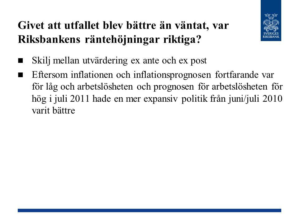 Givet att utfallet blev bättre än väntat, var Riksbankens räntehöjningar riktiga? Skilj mellan utvärdering ex ante och ex post Eftersom inflationen oc
