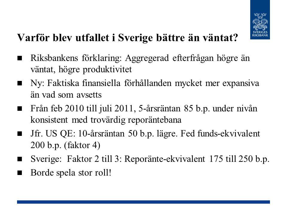 Varför blev utfallet i Sverige bättre än väntat? Riksbankens förklaring: Aggregerad efterfrågan högre än väntat, högre produktivitet Ny: Faktiska fina