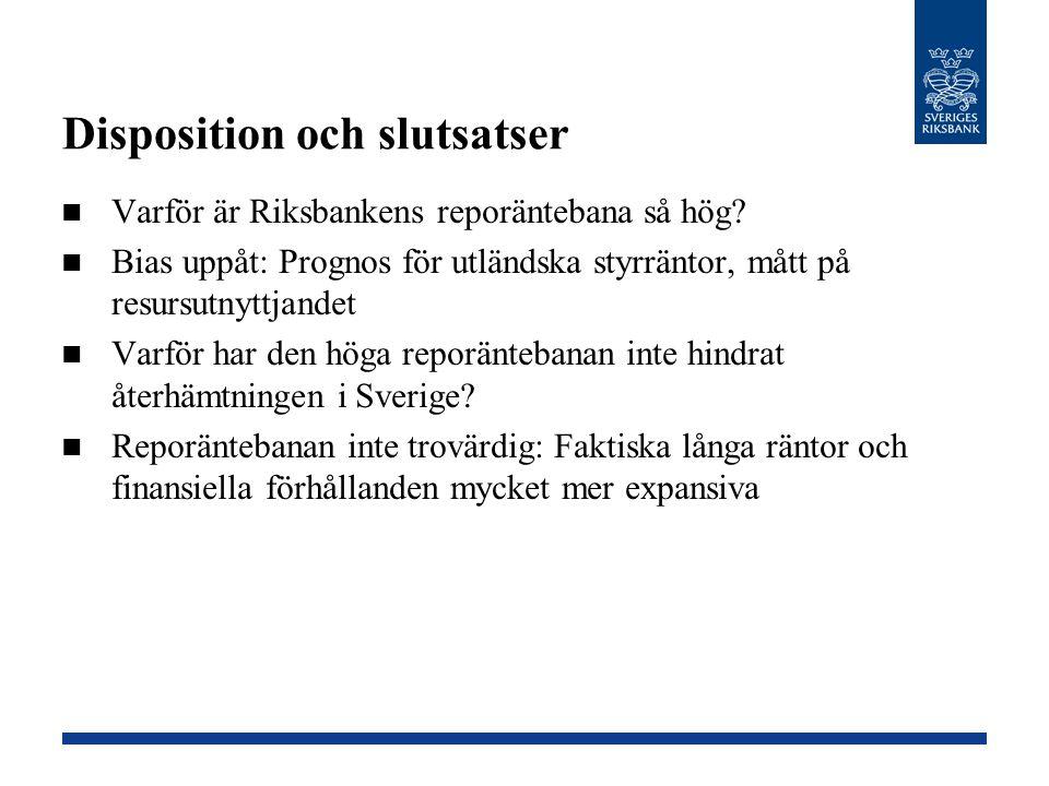 Disposition och slutsatser Varför är Riksbankens reporäntebana så hög? Bias uppåt: Prognos för utländska styrräntor, mått på resursutnyttjandet Varför
