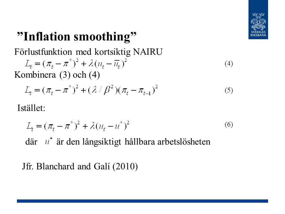 """""""Inflation smoothing"""" (4) (5) Istället: där är den långsiktigt hållbara arbetslösheten (6) Förlustfunktion med kortsiktig NAIRU Kombinera (3) och (4)"""