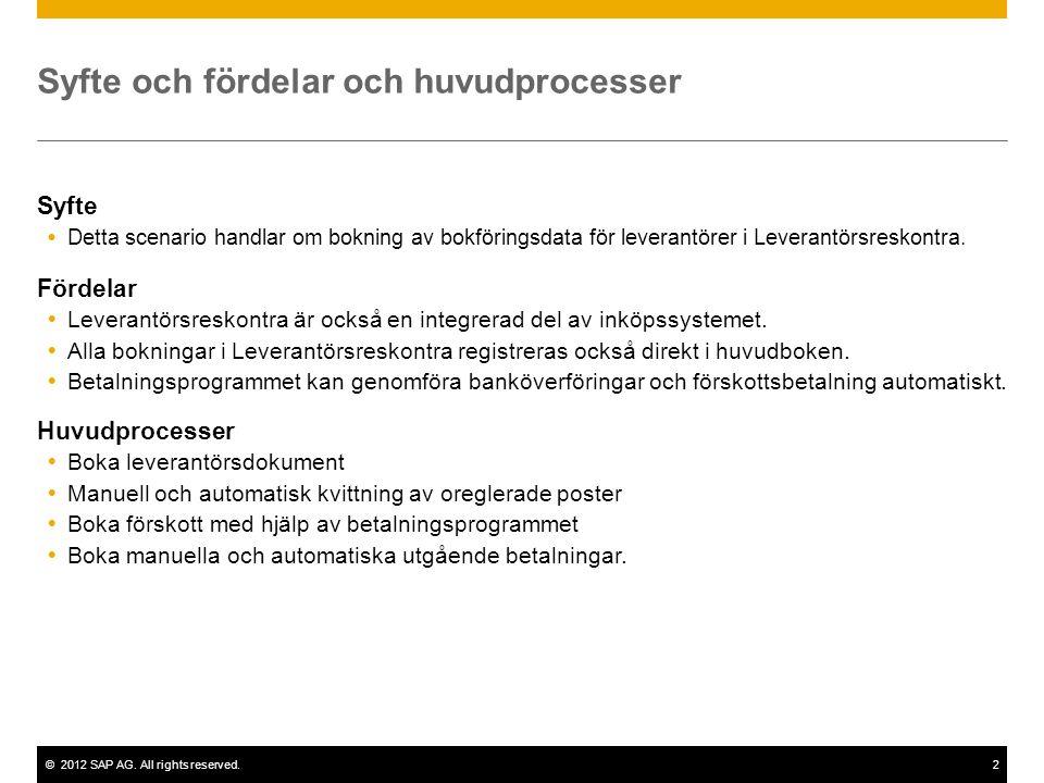 ©2012 SAP AG. All rights reserved.2 Syfte och fördelar och huvudprocesser Syfte  Detta scenario handlar om bokning av bokföringsdata för leverantörer