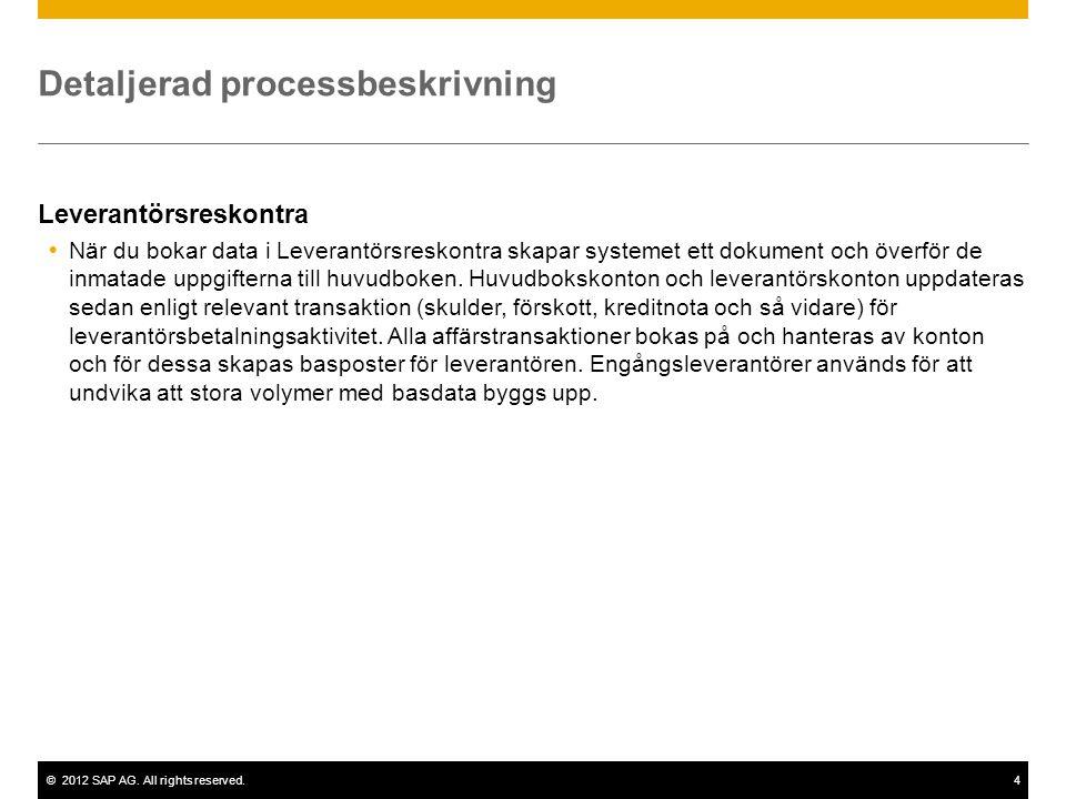 ©2012 SAP AG. All rights reserved.4 Detaljerad processbeskrivning Leverantörsreskontra  När du bokar data i Leverantörsreskontra skapar systemet ett