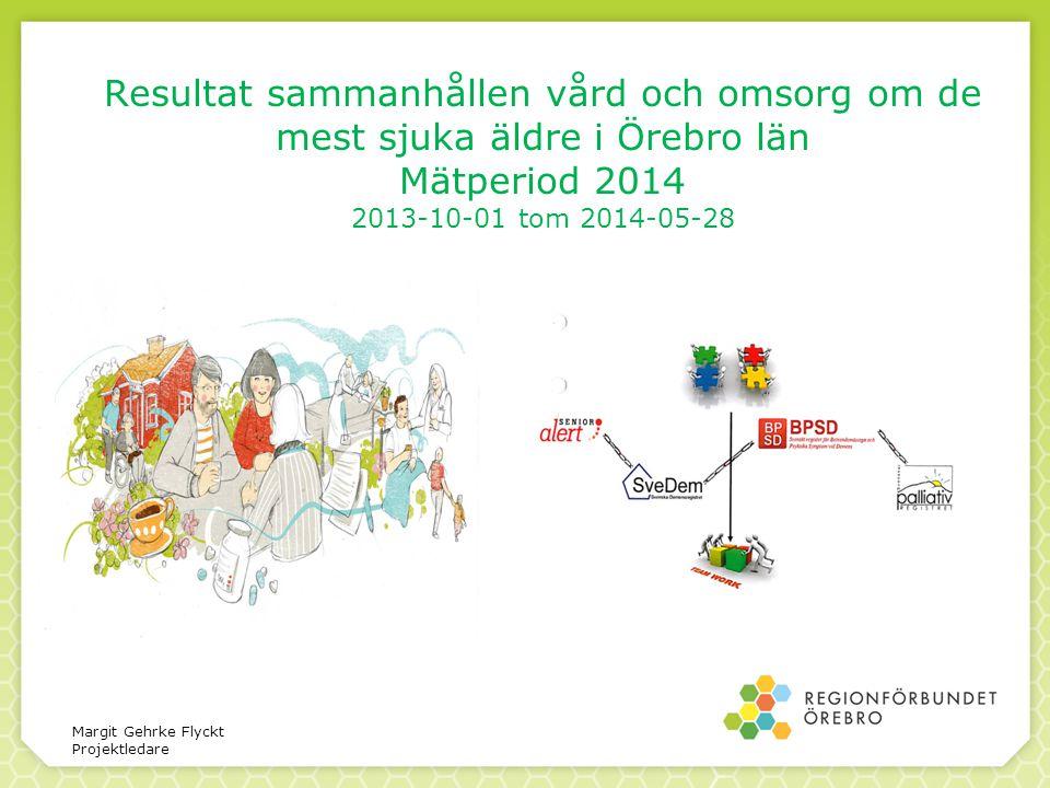 Resultat sammanhållen vård och omsorg om de mest sjuka äldre i Örebro län Mätperiod 2014 2013-10-01 tom 2014-05-28 Margit Gehrke Flyckt Projektledare