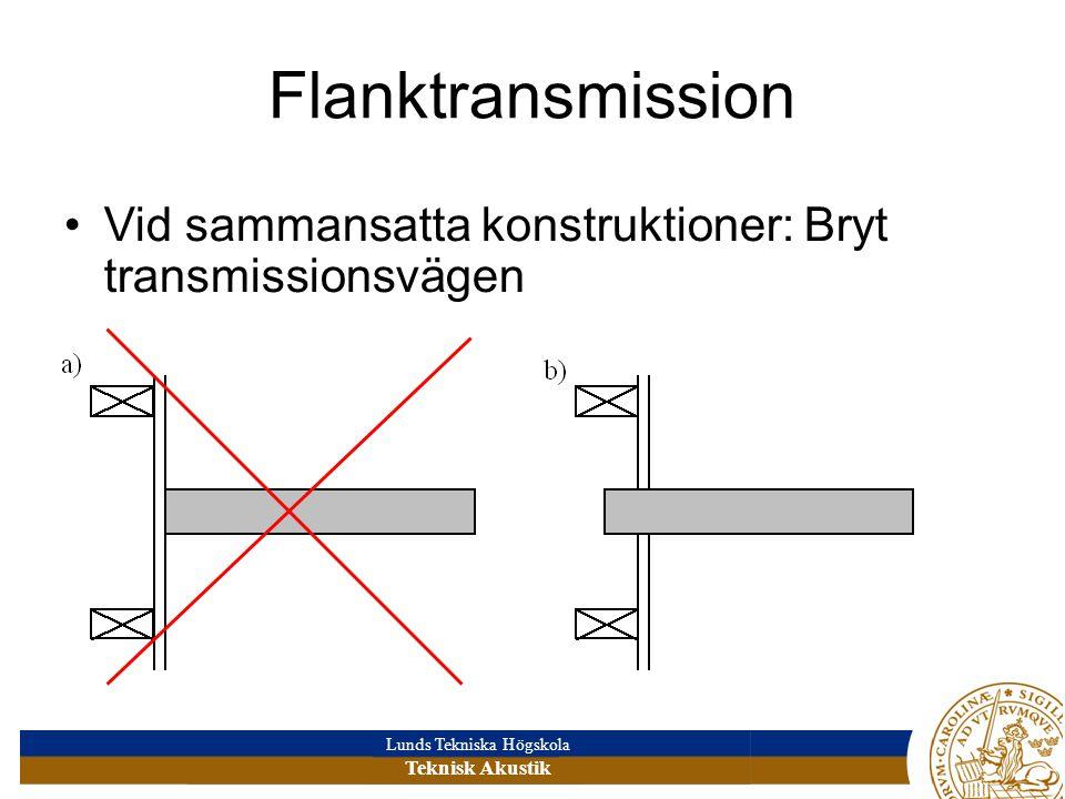 Lunds Tekniska Högskola Teknisk Akustik Flanktransmission Vid sammansatta konstruktioner: Bryt transmissionsvägen