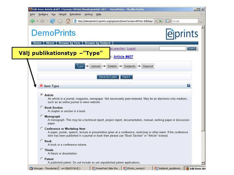 Välj publikationstyp – Type