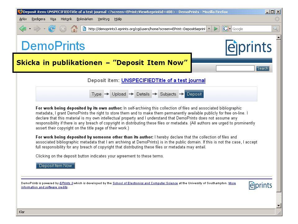 "Skicka in publikationen – ""Deposit Item Now"""
