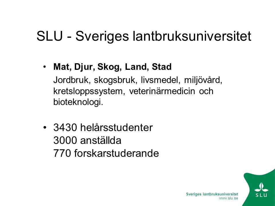 Sveriges lantbruksuniversitet www.slu.se SLU - Sveriges lantbruksuniversitet Mat, Djur, Skog, Land, Stad Jordbruk, skogsbruk, livsmedel, miljövård, kretsloppssystem, veterinärmedicin och bioteknologi.