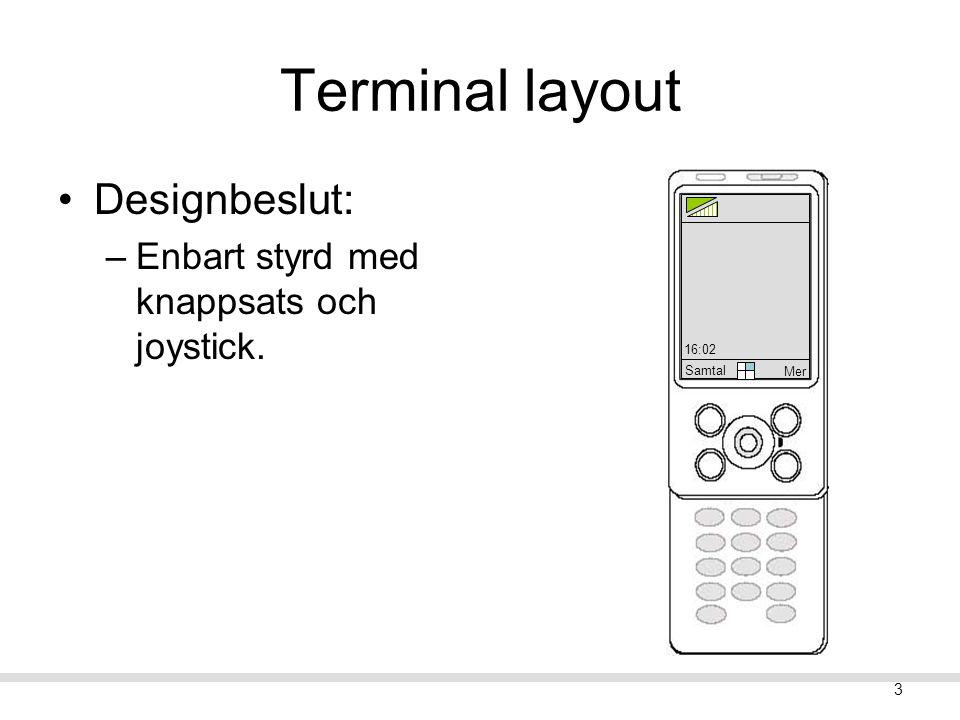 2 Innehåll Terminal layout Koncept Scenarion: –Konceptuella scenarion. –Användarfall (use cases) Några QOC. Utvärdering 1.