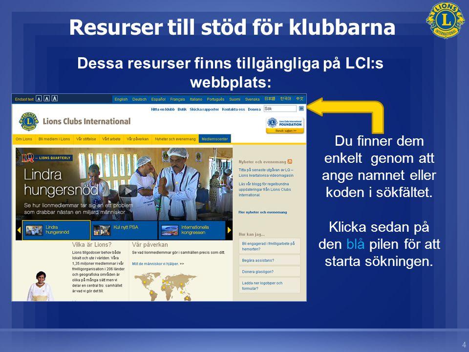 4 Resurser till stöd för klubbarna Dessa resurser finns tillgängliga på LCI:s webbplats: Du finner dem enkelt genom att ange namnet eller koden i sökfältet.