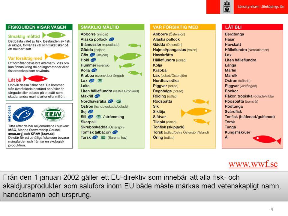 4 www.wwf.se Från den 1 januari 2002 gäller ett EU-direktiv som innebär att alla fisk- och skaldjursprodukter som saluförs inom EU både måste märkas m