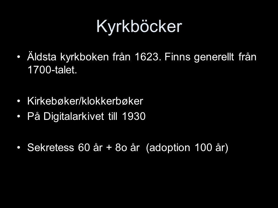 Kyrkböcker Äldsta kyrkboken från 1623.Finns generellt från 1700-talet.