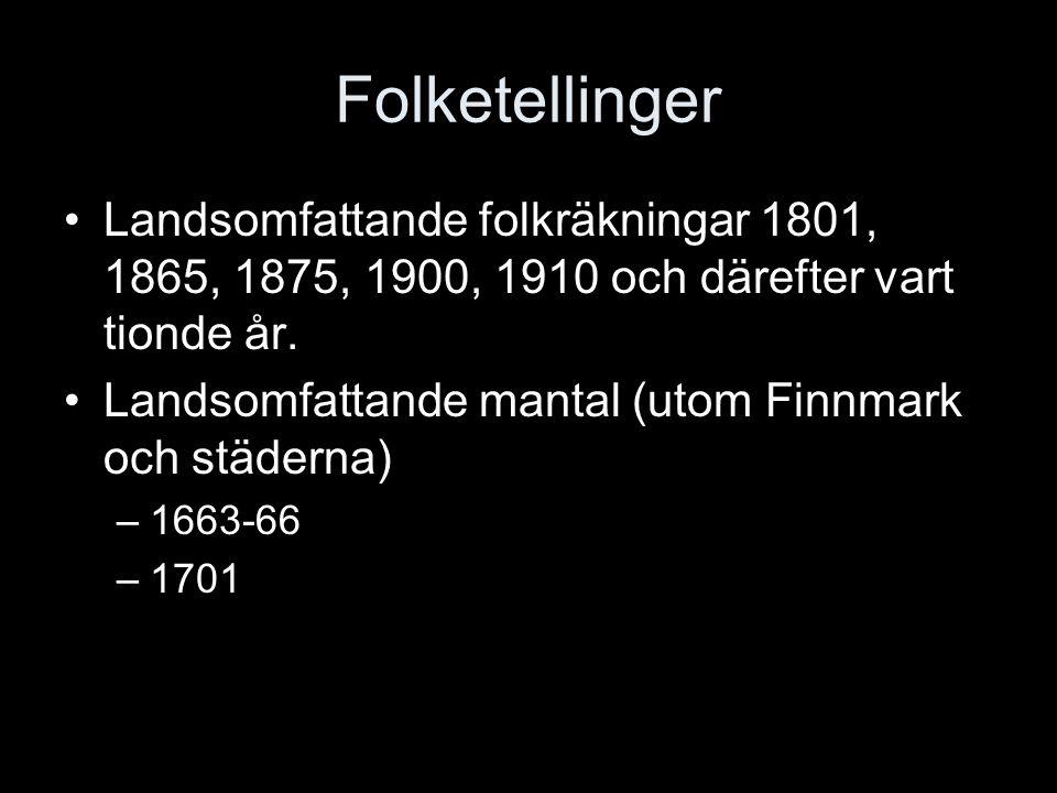 Folketellinger Landsomfattande folkräkningar 1801, 1865, 1875, 1900, 1910 och därefter vart tionde år.