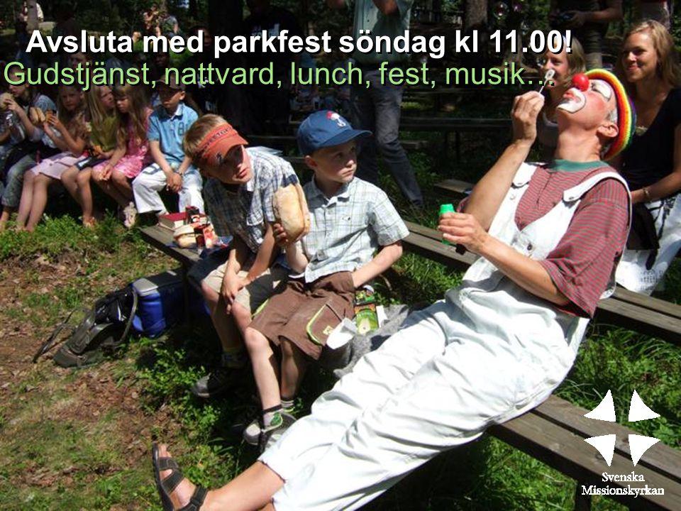 Avsluta med parkfest söndag kl 11.00! Gudstjänst, nattvard, lunch, fest, musik…